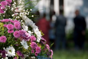 bouquet of flowers at funeral