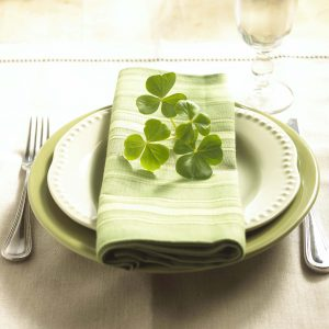 Place setting with shamrocks